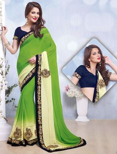 Captivating Lime Green & Cream Saree