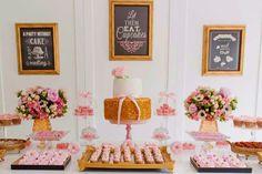 Festa Lançamento Blog Bella Fiore Decor Rosa e Dourado Mesa Bolo