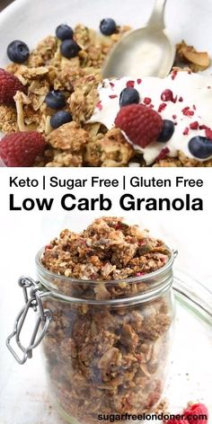 Keto low carb granola has irresistible crunchy clusters. It is packed with nuts and seeds and high in protein if you have a cereal craving try this delicious grain free sugar free granola for breakfast! You can prep a big batch in only 10 minutes. Keto Friendly Desserts, Low Carb Desserts, Low Carb Recipes, Cheap Recipes, Sugar Free Granola, Grain Free Granola, Keto Granola, Low Carb Granola Recipe With Oats, Diabetic Granola Recipe