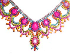 One of a Kind Pastel and Neon Hand-painted Vintage Rhinestone Necklace: $290.00