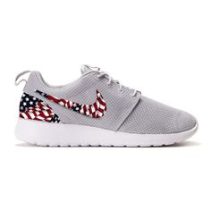 premium selection 605b5 82b83 New Nike Roshe Run Custom American Flag Edition Base Color Wolf GreyWhite  Fabric