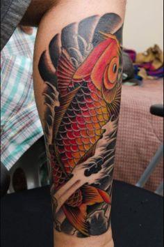Colorful Koi Fish Tattoo Designs On Leg Koi Fish Tattoo Forearm, Koi Tattoo Sleeve, Carp Tattoo, Forearm Tattoos, Fish Tattoos, Tatoos, Koi Tattoo Design, Forearm Tattoo Design, Tattoo Designs