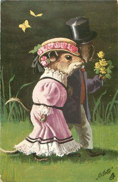 EIN PARCHEN  two dressed mice walk right