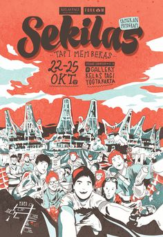 """this project I made for """"sekilas tapi membekas"""" exhibiton's publication for FORKOM jogja, at Galery Kelas Pagi Jogja 22-25 oct 2014. This illustration told about our togetherness at Makassar and Tana Toraja. I was trying to bring the atmosphere, the weather, and the colours, with this illustration. Banner Design Inspiration, Indonesian Art, Graffiti Characters, Makassar, Creative Posters, Tee Design, Caricature, Book Art, Character Design"""