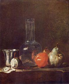 Jean-Baptiste-Siméon Chardin, Still Life with Glass Flask and Fruit, c. 1750