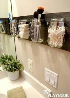 Click Pic for 18 DIY Bathroom Storage Ideas - Mason Jar Organizers - Bathroom Organization Ideas Bathroom Organisation, Home Organization, Organized Bathroom, Organizing Ideas, Bathroom Space Savers, Space Saver Bedroom, Kitchen Space Savers, Pot Mason Diy, Pots Mason