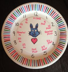 My 5yo is learning to tell the time, so I made her a clock out of a paper plate to stick up next to the clock in her bedroom. She can match up the number of the big hand with the paper plate clock to tell her what it means. I did this for my 11yo and it worked really well.