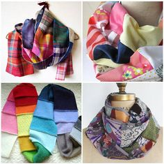 Patchwork scarves on etsy- love the rainbow scarf! Sewing Hacks, Sewing Crafts, Sewing Tips, Diy Scarf, Scarf Top, Diy Clothes Refashion, Diy Clothes Videos, Festival Outfits, Diy Fashion