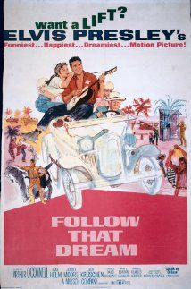 """Follow That Dream (1962) When the Kwimper family car runs out of gas on a new Florida highway and an officous state supervisor tries to run them off, Pop Kwimper digs in his heels and decides to do a little homesteading. He and his son Toby and their """"adopted"""" children - Holly, Ariadne and the twins - start their own little community along a strip of the roadside.   Elvis Presley, Arthur O'Connell, Anne Helm #elvisserendipity"""