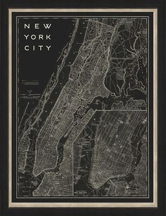 Map of New York City (Dark) - Vintage Print Gallery - $179.00 - domino.com