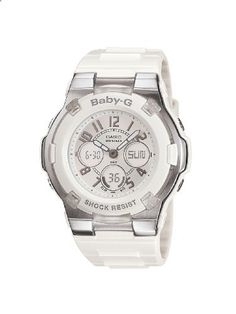 Casio Women's BGA110-7B Baby-G Shock Resistant White Analog Sport Watch. Go to the website to read more description.