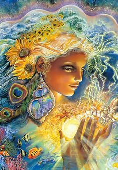 """Josephine Wall """"Creation of Summer"""" acrylic. Look for Neptune climbing the stairs in her shell earring."""