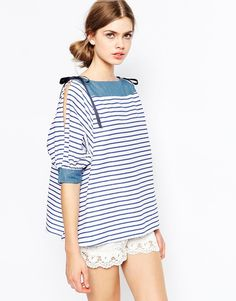 The Laden Showroom X I Love Friday Stripe T-Shirt With Bow Shoulder