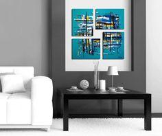 Original 4 piece abstract painting. Unique geometric by JoDiquez, $120.00
