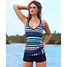 JAG Swimsuit, Crisscross Striped Tankini Top & Striped Boy Shorts Swim Bottom - Womens Swimwear - Macy's