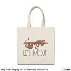 """Baby Sloths """"Lets Hang Out"""" Tote Bag. So full of puns :) #sloth #tote #bag"""