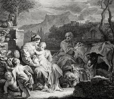 Phillip Medhurst presents Bowyer Bible Gospels print 3459 The flight into Egypt Matthew 2:14 Solimane on Flickr.  A print from the Bowyer Bible a grangerised copy of Macklins Bible in Bolton Museum and Archives England. Photograph of a print in the Phillip Medhurst Collection (owned by Philip De Vere) at St. Georges Court Kidderminster.