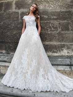 Lace Wedding Dress, Attractive Tulle & Lace Bateau Neckline A-line Wedding Dress With Beadings & Lace Appliques Ftw Bridal UK Unconventional Wedding Dress, Affordable Wedding Dresses, Wedding Dresses Plus Size, Dream Wedding Dresses, Bridal Dresses, Wedding Gowns, Boho Wedding, Ball Dresses, Ball Gowns