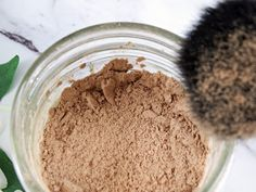 Make your own DIY natural mineral loose powder foundation out of ingredients your probably already have at home. I used arrowroot powder, cacao, cinnamon, ground ginger, bentonite clay and lavender essential oiL! It's detoxifying, anti-inflammatory and 100% safe to put on your skin. #natural #makeup #DIY #nontoxic