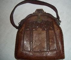 191020s Art Nouveau tooled leather purse Treasury by CactusKates, $135.00