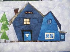 Grit's Life: Blogger`s Quilt Festival *1 Wall Hanging.   I will have to double check, but these remind me of the Sulky Christmas village patterns!   These are really pretty in all blues.