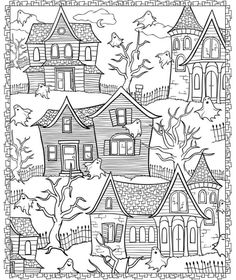 With these Halloween Doodles, you can celebrate the happy Halloween's Day. Search through Halloween doodles and find creepy characters, witches and mystical monsters. Mandala Halloween, Halloween Doodle, Coloring Book Pages, Printable Coloring Pages, Coloring Sheets, Doodle Coloring, Kids Coloring, Online Coloring, Desenhos Halloween