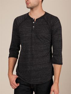 Alternative Apparel Men's Raglan Henley : a total Monkii shirt Mens Alternative Clothing, Alternative Outfits, Alternative Apparel, Henley Shirts, Dress Codes, Well Dressed, Winter Outfits, Mens Fashion, My Style
