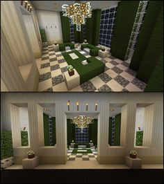 Minecraft Green Living Room Furniture Curtains Chandelier - pinteret my world Living Room In Minecraft, Minecraft Villa, Minecraft House Plans, Minecraft Kitchen Ideas, Minecraft Mansion, Minecraft Castle, Minecraft Room, Minecraft House Designs, Minecraft Houses Blueprints