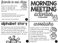 This is a collection of free morning meeting greetings and activities. I love the idea of a consistent morning meeting that allows students to connect with one another, share, and collaborate, to start the day. Morning Meeting Kindergarten, Morning Meeting Activities, Kindergarten First Day, Class Meetings, Morning Meetings, Morning Work, Beginning Of The School Year, First Day Of School, Morning Meeting Greetings