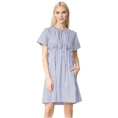Victoria Victoria Beckham Striped Empire Dress (€525) ❤ liked on Polyvore featuring dresses, royal blue, royal blue short sleeve dress, 2 tone dress, two-tone dress, short-sleeve dresses and cotton dresses