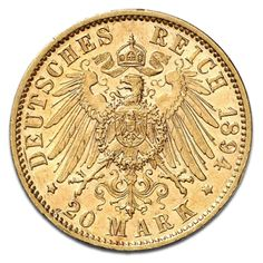 König Wilhelm II., Württemberg, 20 Mark, 7.16g Gold, 1871-1873