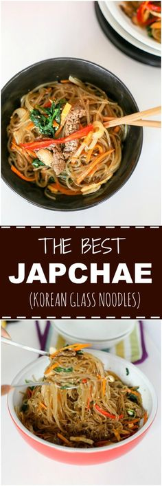 Japchae (Korean Glass Noodle Stir Fry) - My Korean Kitchen Healthy Diet Recipes, Healthy Meal Prep, Cooking Recipes, Healthy Food, Dinner Healthy, Chinese Chicken Recipes, Asian Recipes, Ethnic Recipes, Easy Recipes