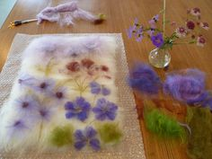 lay out of a botanical felting picture by Christine Wallace