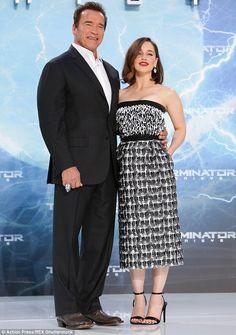 Co-stars: Emilia features alongside Arnold Schwarzenegger in new film Terminator: Genisys...