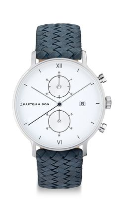 High-quality chronograph: silver steel case ✓ sapphire glass ✓ genuine leather strap ✓ white dial ✓ stopwatch ✓ calendar indication ✓ Shop watch for men now!