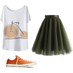 Orange green by ariannamarie01 on Polyvore featuring polyvore, beauty, Chicwish and Converse