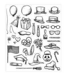 Stampers Anonymous� Tim Holtz Crazy Things Cling Rubber Stamp Set