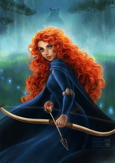 "Brave, Disney, Merida, the scottish princess who wanted to be an archer. ""Merida is my favorite for many reasons. A big reason is she's the only princess that lived happily ever after without a prince"" Brave Merida, Walt Disney, Disney Magic, Disney Fairies, Tinkerbell, Disney And Dreamworks, Disney Pixar, Disney Characters, Face Characters"