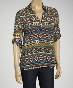 Look what I found on #zulily! Teal & Brown Geo Stripe Notch Neck Top by MOA Collection #zulilyfinds