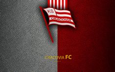 Download wallpapers Cracovia FC, 4k, football, emblem, logo, Polish football club, leather texture, Ekstraklasa, Krakow, Poland, Polish Football Championships