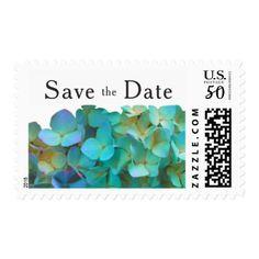 Teal Blue Hydrangeas Postage - flowers floral flower design unique style