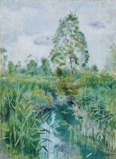 Ferdinand Hodler - Bachlandschaft; Creation Date: 1890; Medium: Oil on canvas; Dimensions: 14.76 X 10.83 in (37.5 X 27.5 cm)
