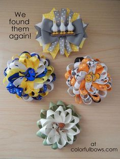 """Before we were Finding Nemo and now we were Finding Dory. It hasn't been easy but we found them! Described by a customer as """"Absolutely adorable"""", this gorgeous set of hair bows include Nemo, Dory, Sq Girl Hair Bows, Girls Bows, Ribbon Crafts, Ribbon Bows, Hair Ribbons, Disney Hair Bows, Making Hair Bows, Bow Making, Hair Bow Tutorial"""