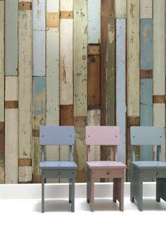 Reclaimed Wood Wallpaper (Sloophout Behang) by Piet Hein Eek, made in Holland