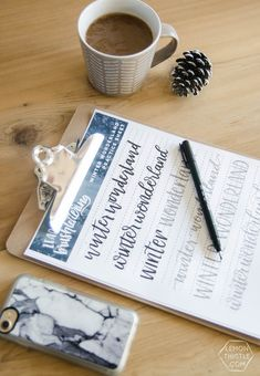 Winter Wonderland hand lettering printable practice sheet- this is perfect for learning brush lettering- I love all the different lettering styles
