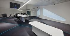 Place name: Centre for Advanced Studies in Air Traffic Management (CASIA). Company: Thales. Why we like it: Innovative and visually interesting form of the space and furniture