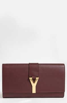 55352ebf7745 Saint Laurent  Y  Leather Clutch available at  Nordstrom Dark Brown Leather