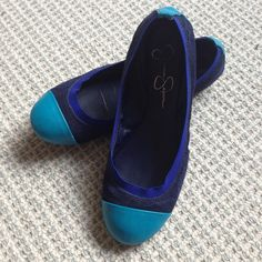 Jessica Simpson Flats Suede, leather and elastic, excellent condition. Fits 6/6.5 Jessica Simpson Shoes Flats & Loafers