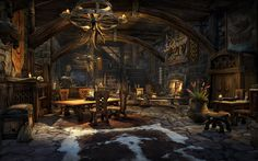 Environment Concept: full space, wood, stone, homey (Elder Scrolls Online)