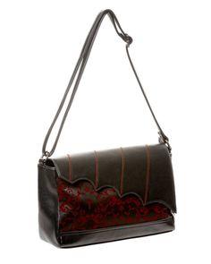 Ivy Pattern Handbag Red and Black - Banned Apparel